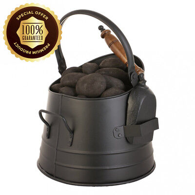Luxury Antique Victorian Style Black Coal Scuttle with Shovel