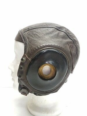 VTG WWII US ARMY AIR FORCE TYPE A-II PILOTS LEATHER HELMET WW2 J.S. Menihan Corp