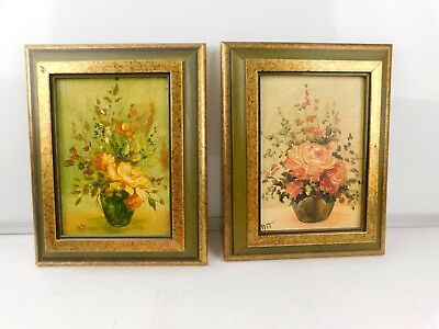 Vtg Marj Teague Pair of Beautiful Flowers Oil Painting on Canvas Panel (Framed)