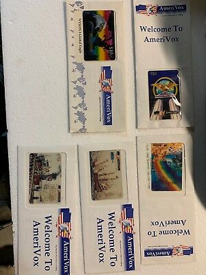 Amerivox 5 Pack Of Collectors Phone Card - New In Envelope