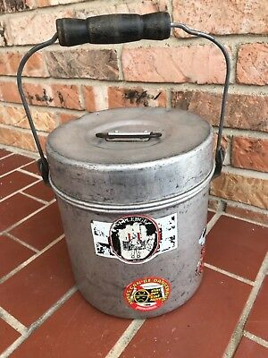 Vintage Coal Miners Lunch Box Pail Aluminum Wooden Handle 3 Pc Sections Bucket