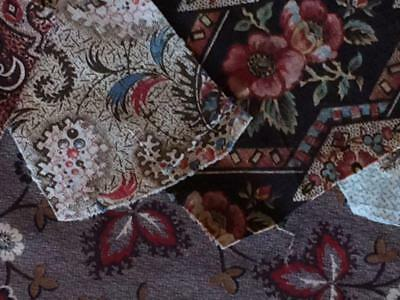 ~Back In Time Textiles~Antique RARE 1830 Very early fabric 12 pcs nice mix