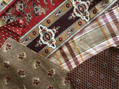 ~Back In Time Textiles~Antique RARE 1830-69 browns turkey red fabric 9 pcs