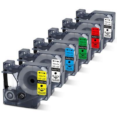 6PK Replace Dymo D1 45010 45013 45016 45017 45018 45019 12mm 0.47 In Label Tape