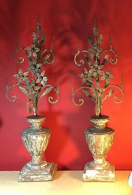 Antique Italian 19th century Venetian carved wood and painted urns with iron dec