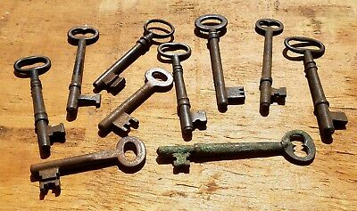 Antique Steel Keys - Lot Of 10 Vintage Skeleton Solid Barrel Keys