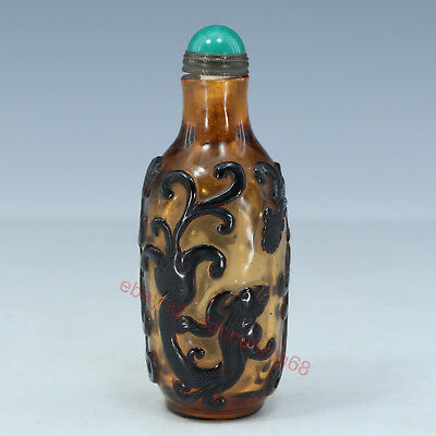 Chinese Exquisite Handmade brave troops Glass snuff bottle