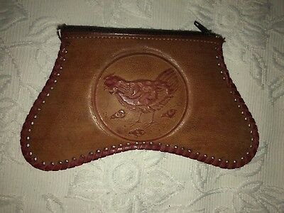 Vintage Retro 60s/70s HAND TOOLED BROWN LEATHER WALLET Purse Clutch Very Cute