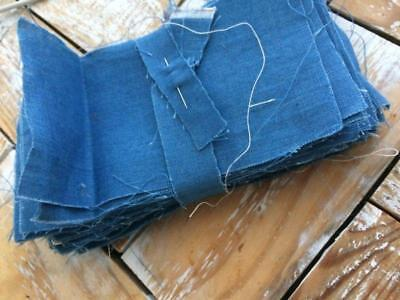 ~Back In Time Textiles~Antique 1880-90 solid blue fabric 54 pcs  quilt blocks