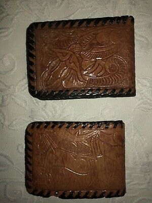 2 Vintage Retro 60s/70s HAND TOOLED BROWN LEATHER WALLET Purse Very Cute