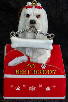 Maltese Statue with Bone Best Buddy Dog Breed Christmas Ornament
