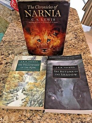 Chronicles of Narnia Lewis Return of Shadow Fellowship of Ring Tolkien 3Book Lot