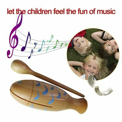 Orff World Wooden Fish-Shaped Clappers Music Instrument With Percussion Stick U2