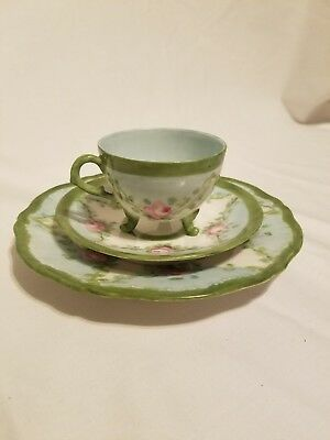 Theodore Haviland Limoges France  Demitasse Tri Footed Tea Cup And Saucer