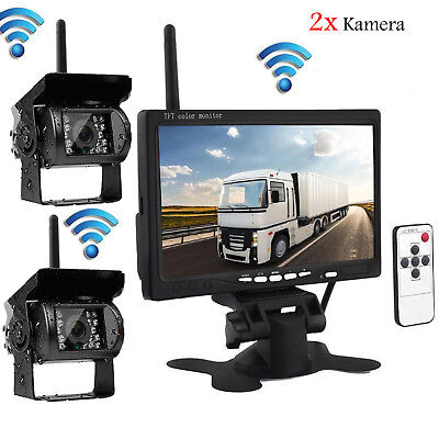 """7""""Monitor + 2x Wireless Rear View Backup Camera Night Vision for RV Truck Bus"""