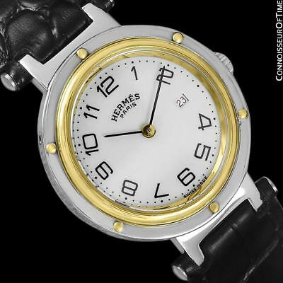 HERMES CLIPPER Unisex SS & 18K GP Watch - $5350, Beautiful Cond. with Warranty