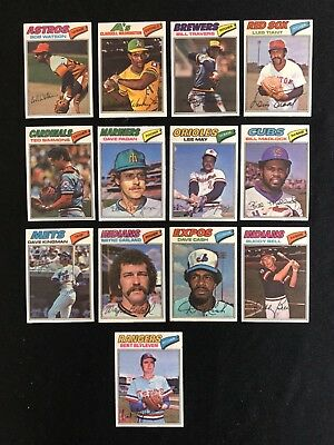 Lot of 13 1977 Topps Cloth Stickers NM-MT Tiant Madlock Blyleven Watson Cash