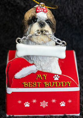 Shih Tzu Tan Puppy  Statue with Bone Best Buddy Dog Breed Christmas Ornament