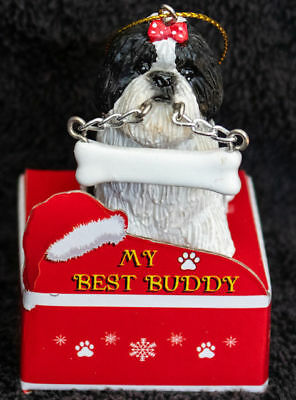 Shih Tzu Black Puppy  Statue with Bone Best Buddy Dog Breed Christmas Ornament