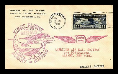 Dr Jim Stamps Us Buffalo New York Cam 20 First Flight Air Mail Cover Albany