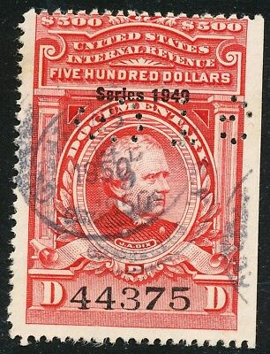 Dr Jim Stamps Us Scott R534 $500 Documentary S1949 Punched No Reserve