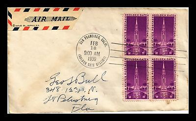 Dr Jim Stamps Us Golden Gate Exposition Fdc Cover Scott 852 Air Mail Block