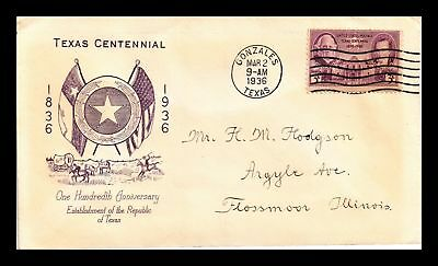 Dr Jim Stamps Us Texas Statehood Centennial Fdc Cover Scott 938 Gonzales