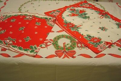 Vintage Cotton Christmas Tablecloth 72 X 60 & 2 Runners--Red & Green--Cutters