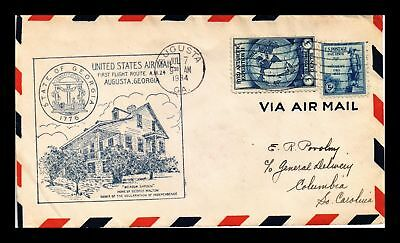 Dr Jim Stamps Us Augusta Georgia First Flight Air Mail Cover Am 24 Columbia