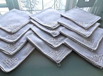 """12 Vintage Gray Textured Linen 16"""" Lunch Napkins White Accent American Art Craft"""