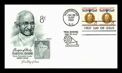Dr Jim Stamps Us Scott 1175 8C Gandhi Champion Of Liberty Fdc Cover Pair