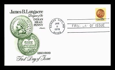 Dr Jim Stamps Us Indian Head Penny James Longacre Fdc Cover Kansas City