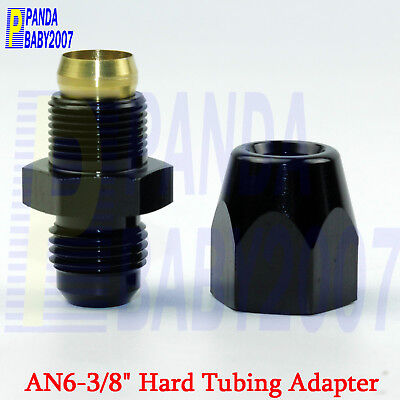 """Hard line Connect Tube Fitting 6# -6 6AN AN6 to Male 3/8"""" Tubing Hose Adapter BK"""