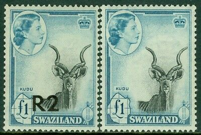EDW1949SELL : SWAZILAND 1956-61 Scott #66, 79 Both High Values. VF, MNH. Cat $80
