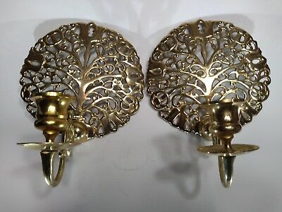 Pair  Vintage Antique  Brass Wall Mount Sconce Single Candle Holder