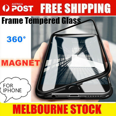 Magnetic Metal Frame Tempered Glass Phone Case Cover Apple iPhone 6 7 8P X MAX