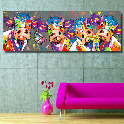 Colorful Cows Graffiti Canvas Painting Wall Art Living Room Bedroom Decor US