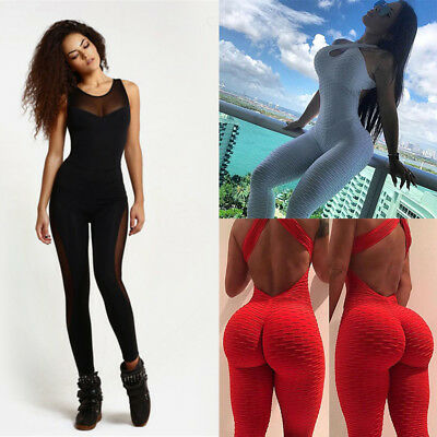 Womens Yoga Sport Fitness Unitard Jumpsuit Bodysuit Leggings Pants Dance Catsuit