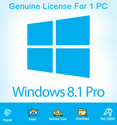 Windows 8.1 Professional Key 32-64bit Genuine License