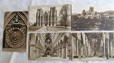 Lot of 5 Vintage FRITH'S SERIES Postcards of WELLS CATHEDRAL #33