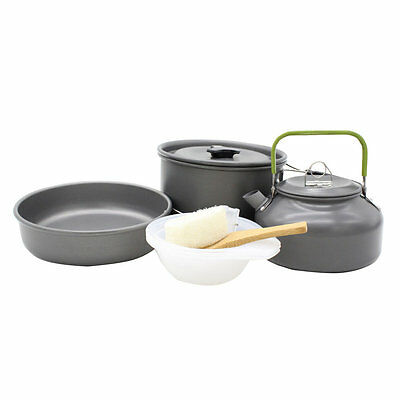 Camping Cookware Mini Pan Kettle and Pot Set for OUTAD for 2-3 Individuls U1