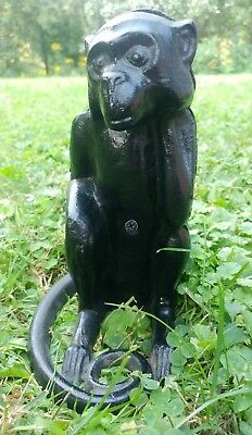 "VINTAGE Cast Iron ""Thinking"" Monkey Bank Piggy Bank - Door Stop Art Paperweight"
