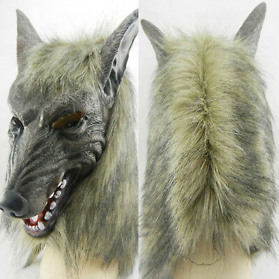 Adult Halloween Mask Full Face Wolf Head Cosplay Costume Party Props Hood Cover