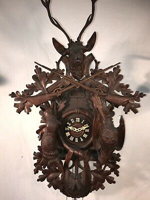 """Outstanding Antique Large 39"""" Black Forest German Coo Coo Clock"""