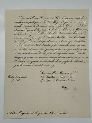 1851 Queen Isabella II, hand signed autograph official letter to King Ferdinand