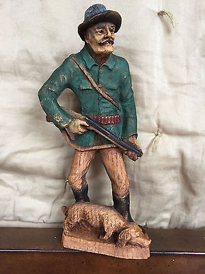 Black Forest Carved Wood Hunters-Folk Art- Antique