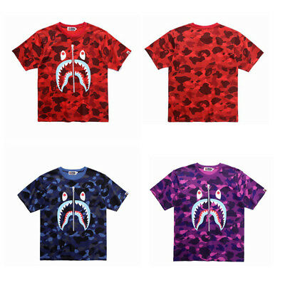BAPE A Bathing Ape Blue SHARK Jaw Men Women Short Sleeve Tee Cotton T- 8b69a30c48