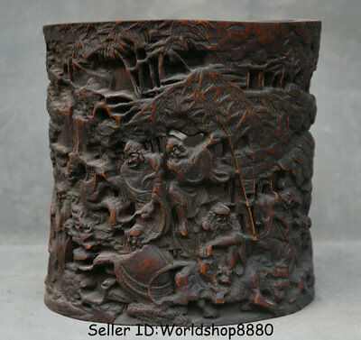"6.2"" Old Chinese Bamboo Root Dynasty Luohan Rohan Buddha Brush Pot Pencil Vase"