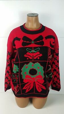Womens Cabin Creek Ugly Christmas Sweater Holiday Shirt Wreath Hearts Size Large