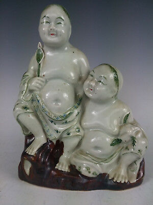 Antique Chinese Qing Porcelain Buddha Hand Painted Famille Verte